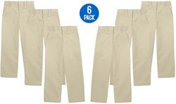 Wholesale Youth School Uniform Flat Front Pants in Khaki 6 Pack