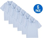 Wholesale Youth Short Sleeve School Uniform Polo Shirt Light Blue 6 Pack