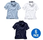 Wholesale Youth Short Sleeve School Uniform Polo Shirt White / Light Blue / Navy  6 Pack