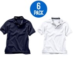 Wholesale Youth Short Sleeve School Uniform Polo Shirt White / Navy  6 Pack