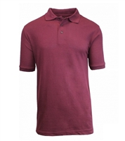 Wholesale Adult Size Short Sleeve Pique Polo Shirt School Uniform in Burgundy . High School Uniform polo Shirts by size