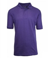 Wholesale Adult Size Short Sleeve Pique Polo Shirt School Uniform in purple grape. High School Uniform polo Shirts