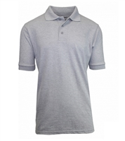 Wholesale Adult Size Short Sleeve Pique Polo Shirt School Uniform in Heather Gray . High School Uniform polo Shirts by size
