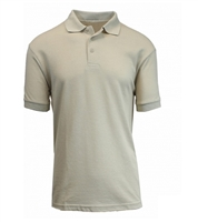 Wholesale Adult Size Short Sleeve Pique Polo Shirt School Uniform in Khaki. High School Uniform polo Shirts
