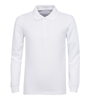 Wholesale Adult Size long Sleeve Pique Polo Shirt School Uniform in White. High School Uniform polo Shirts