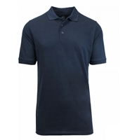 Wholesale Big Mens Short Sleeve Pique Polo Shirt School Uniform in Navy Blue. High School Uniform polo Shirts