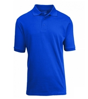 Wholesale Big Mens Short Sleeve Pique Polo Shirt School Uniform in Royal Blue. High School Uniform polo Shirts