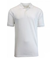 Wholesale Big Mens Short Sleeve Pique Polo Shirt School Uniform in White. High School Uniform polo Shirts