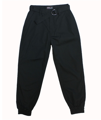 Wholesale Boys Belted Ripstop Jogger Pants Black