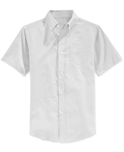 Boys short sleeve oxford shirt school uniform in white for Short sleeve white dress shirt