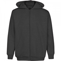 Wholesale Boys Fleece Zip Up Hooded Sweatshirt in Charcoal