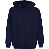 Wholesale Boys Fleece Zip Up Hooded Sweatshirt in Navy
