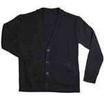 Wholesale School Uniform Kid's V-Neck Cardigan in Black