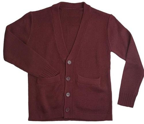 Wholesale School Uniform Kid S V Neck Cardigan In Burgundy