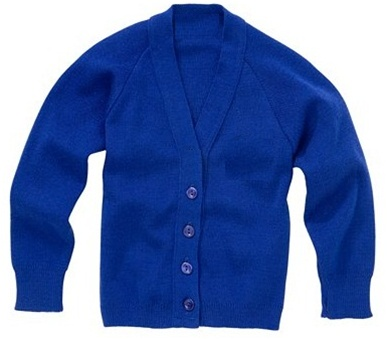 Wholesale School Uniform Kid's V-Neck Cardigan in Royal Blue