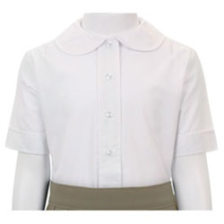 Children's Blouses, Smocked Shirts & Personalized Shirts. To compliment our lovely dresses and We offer children's, baby, girl, and boy blouses in white and ecru in short sleeve or long sleeve and turtlenecks with various color trims by Girl's Monogrammable White Blouse with Peter Pan Collar Piped in Red. Retail price: $