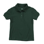 Wholesale Junior Short Sleeve Jersey Knit Polo Shirt in Hunter Green