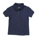 Wholesale Junior Short Sleeve Jersey Knit Polo Shirt in Navy