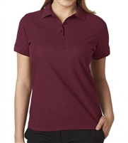 Wholesale Junior Short Sleeve 5 Button Pique Polo Shirt  in Burgundy