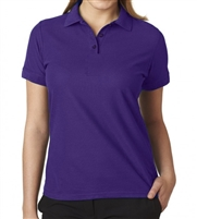 wholesale school uniforms bulk Junior Short Sleeve 5 Button Pique Polo Shirt  in Purple