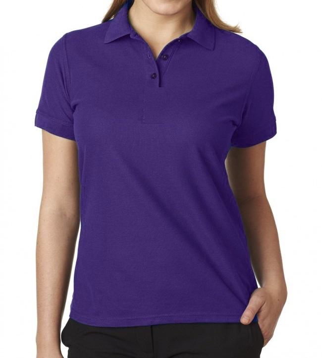 Wholesale junior short sleeve 5 button pique polo shirt in for Purple polo uniform shirts