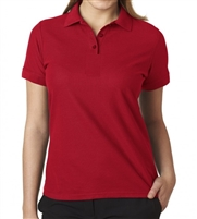 school uniforms wholesale distributors Junior Short Sleeve 5 Button Pique Polo Shirt  in Red