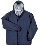 Wholesale Young Men's Fleece Lined School Uniform Jacket with Hood in Navy