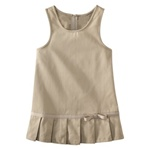 Wholesale Girls School Uniform Pleated Hem Jumper in Khaki