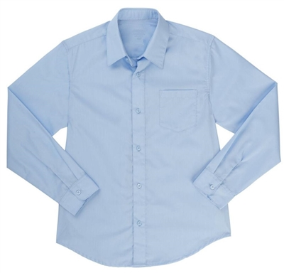 Boys Long Sleeve Dress Shirt School Uniform in Blue