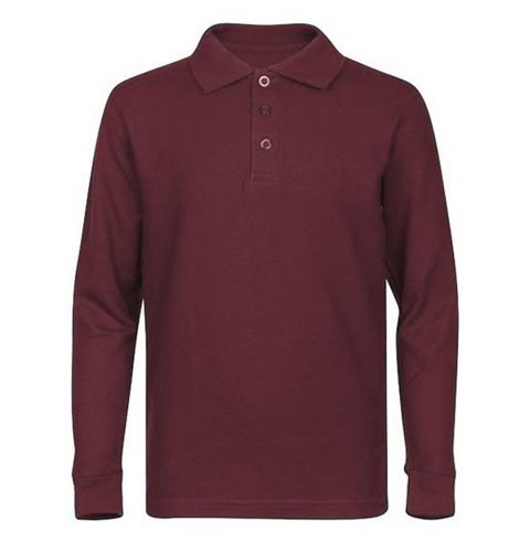 Wholesale Boys Long Sleeve School Uniform Polo Shirt In: burgundy polo shirt boys