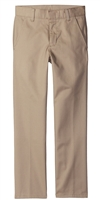 wholesale boys flat front Slim Fit school pants in khaki