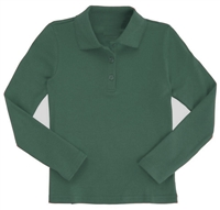 Wholesale Girls Long Sleeve Knit Polo with Picot Collar in Hunter Green
