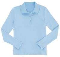 Wholesale Girls Long Sleeve Knit Polo with Picot Collar in Light Blue