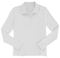 Wholesale Girls Long Sleeve Knit Polo with Picot Collar in White