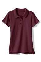 Wholesale Girls Short Sleeve Knit Polo with Picot Collar in Burgundy
