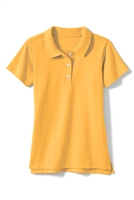 Wholesale Girls Short Sleeve Knit Polo with Picot Collar in Gold