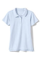 Wholesale Girls Short Sleeve Knit Polo with Picot Collar in Light Blue