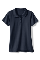school uniforms wholesale Girls Short Sleeve Knit Polo with Picot Collar in Navy