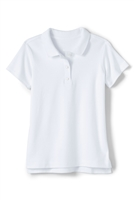 Wholesale Girls Short Sleeve Knit Polo with Picot Collar in White