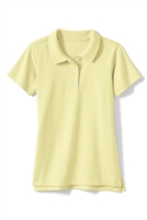 Wholesale Girls Short Sleeve Knit Polo with Picot Collar in Yellow