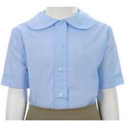 Wholesale Girl's Short Sleeve Peter Pan Collar Blouse School Uniform in Blue
