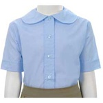 Wholesale Girl's Short Sleeve Peter Pan Collar Blouse Uniform Shirt in Blue by Size