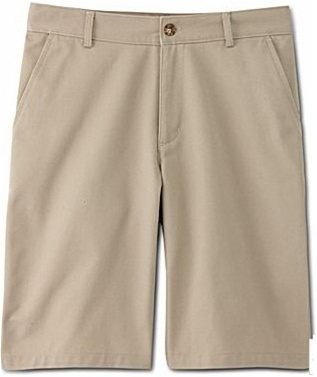Young Men's School Uniform Flat Front Twill Shorts in Khaki by size