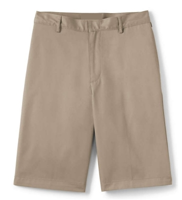 Young Men's School Uniform Flat Front Twill Shorts in Khaki