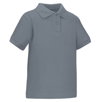 Wholesale Toddler Short Sleeve School Uniform Polo Shirt Heather Grey