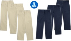 Wholesale Youth School Uniform Flat Front Pants in Khaki and Navy 6 Pack