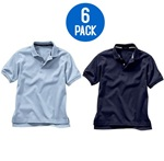 Wholesale Youth Short Sleeve School Uniform Polo Shirt Navy / Light Blue  6 Pack