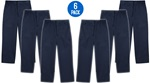 Wholesale Youth School Uniform Flat Front Pants in Navy 6 Pack