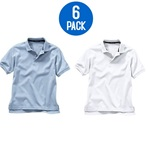 Wholesale Youth Short Sleeve School Uniform Polo Shirt White / Light Blue  6 Pack