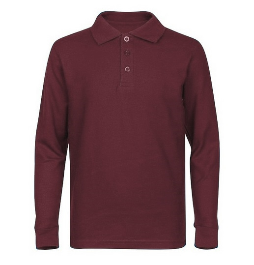 8aca6485d Wholesale Adult Size long Sleeve Pique Polo Shirt School Uniform in  Burgundy. High School Uniform polo Shirts